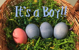 Pink and Blue Easter Egg Gender Reveal Idea