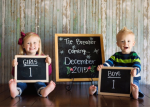 Tie Breaker Chalk Board Gender Reveal Idea