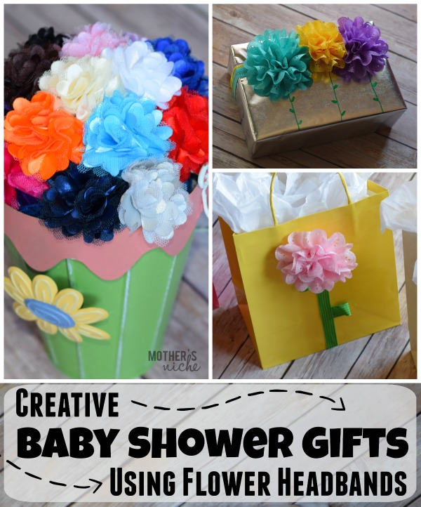 Creative baby shower gifts using flower headbands