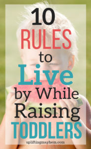 Parenting toddlers can be exhausting physically and mentally! Here are 10 rules to live by when parenting toddlers! Enjoy and love the toddler stage