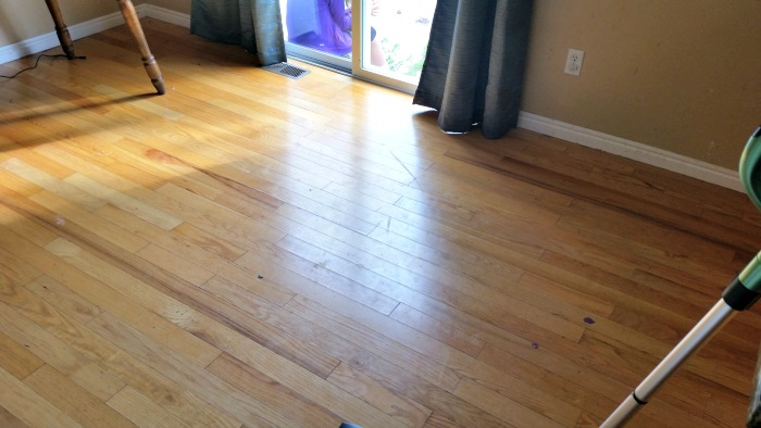 Grungy Kitchen floors BEFORE using the Shark® Steam & Spray™ Pro