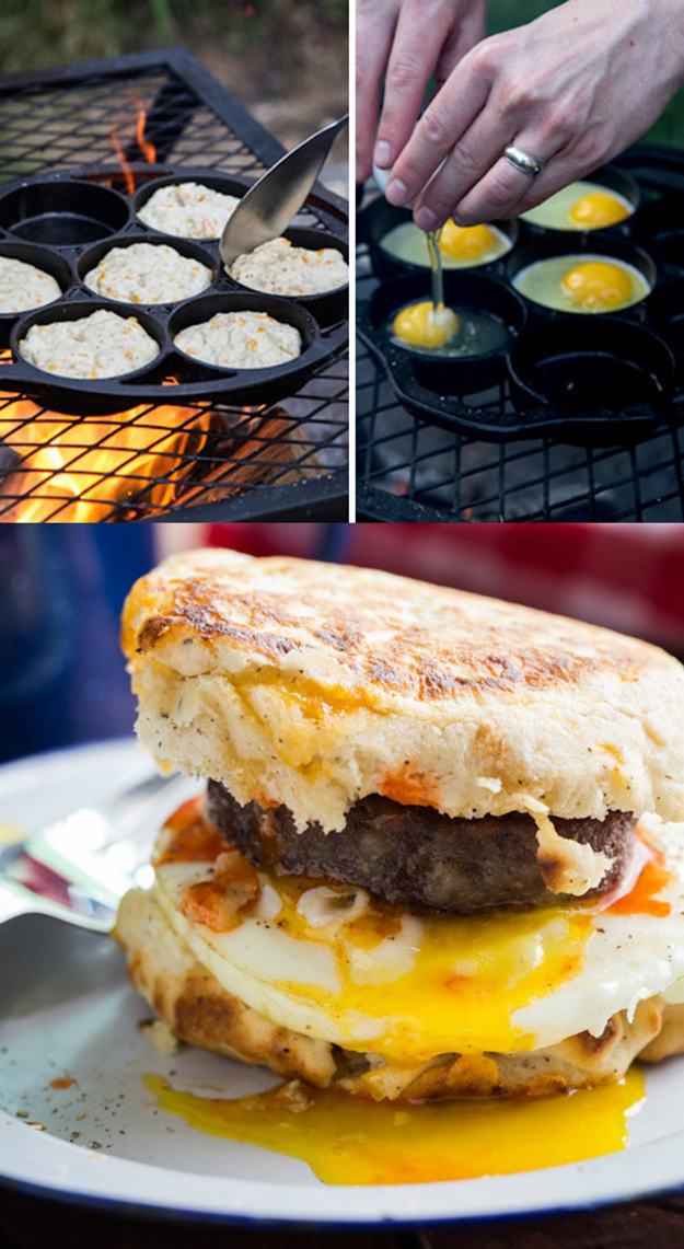 Campfire Breakfast Burger via Jelly Toast