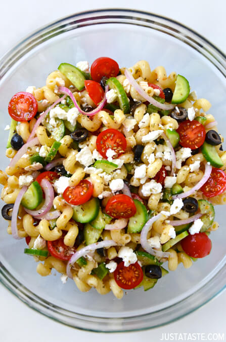 Greek Pasta Salad with Red Wine Vinaigrette by Just a Taste