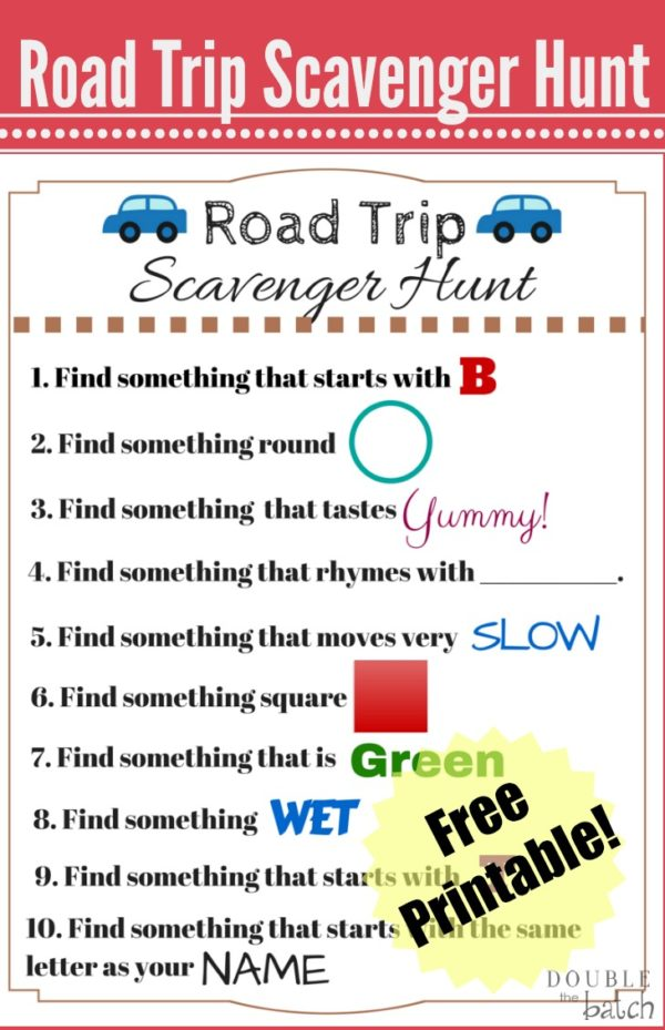 photograph about Road Trip Scavenger Hunt Printable known as Street Holiday Scavenger Hunt - Humorous Scavenger Hunt Tips