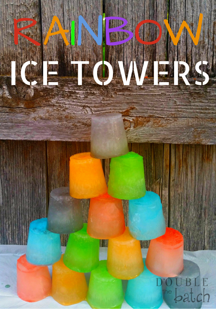 My kids absolutely loved building these Rainbow Ice Towers! Such a great summer activity for to cool down in the heat!