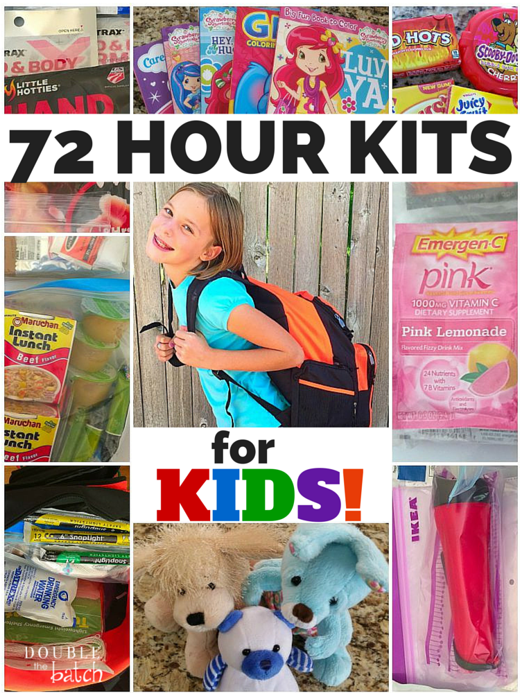 This has some great ideas for the unique needs of kids during an emergency. 72 hour kits for kids of all ages! #Doublethebatch