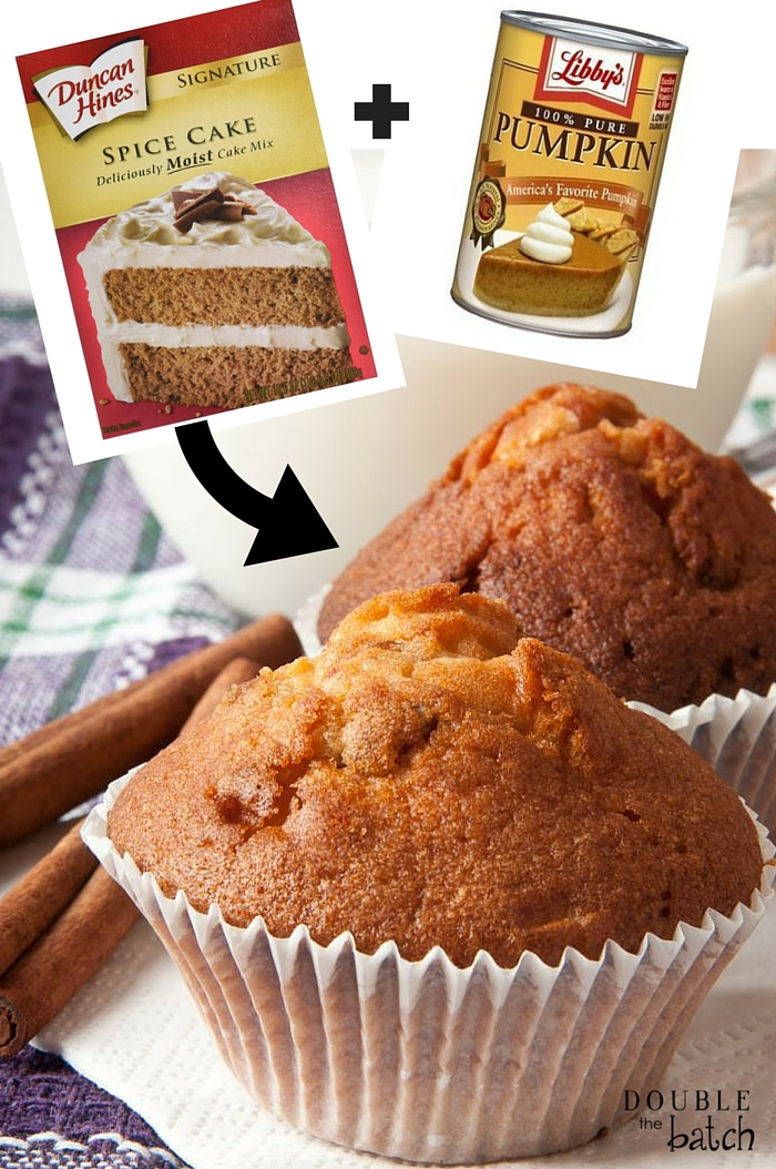 2-Ingredient Pumpkin Spice Muffins! So Easy, So Yummy, and can be customized in so many ways!