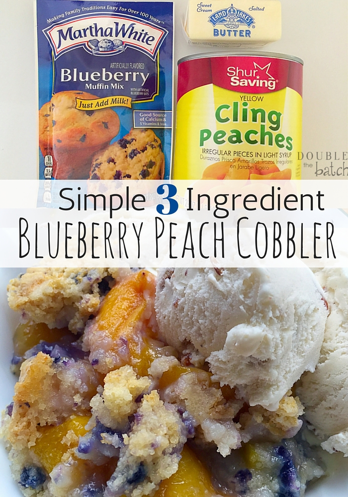 Delicious Blueberry Peach Cobbler with only 3 ingredients and 5 minutes prep! Gotta love quick and simple and DONE! #ad #sponsored