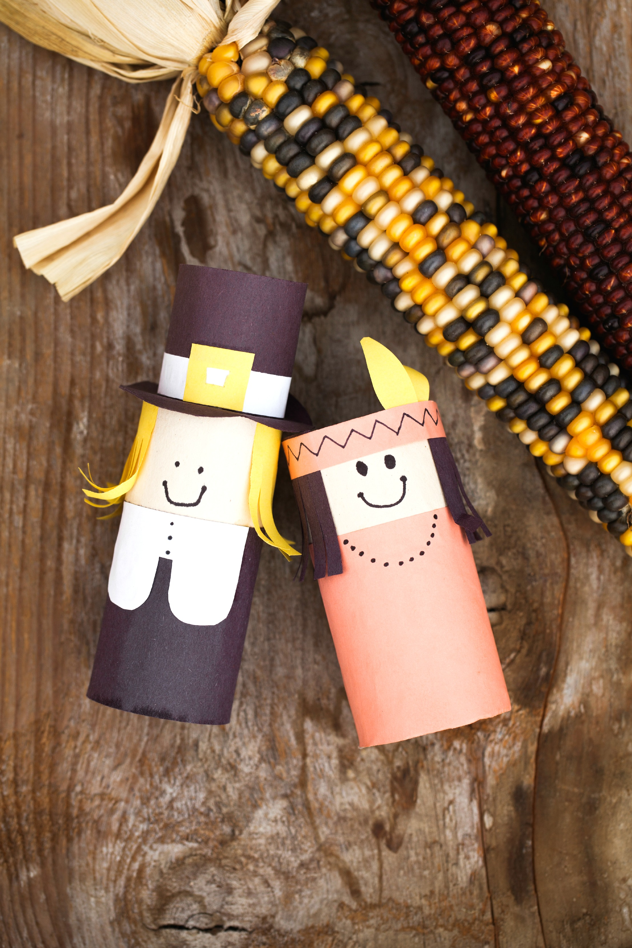 These easy pilgrim crafts made from toilet paper rolls would be so fun to make with the kids and display for thanksgiving