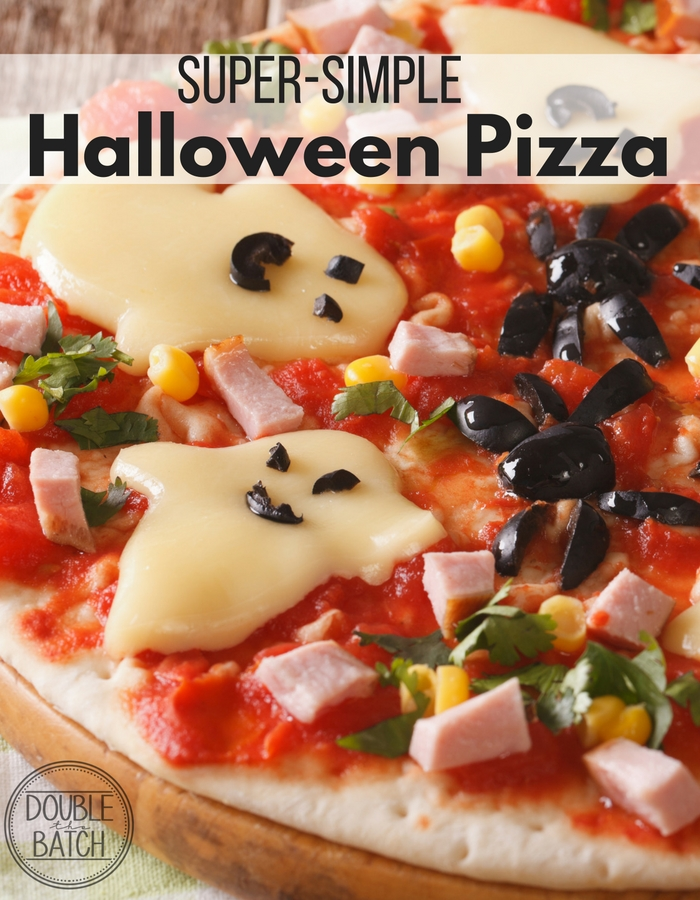 Simple halloween pizza to fill those bellies before all of the goodies!