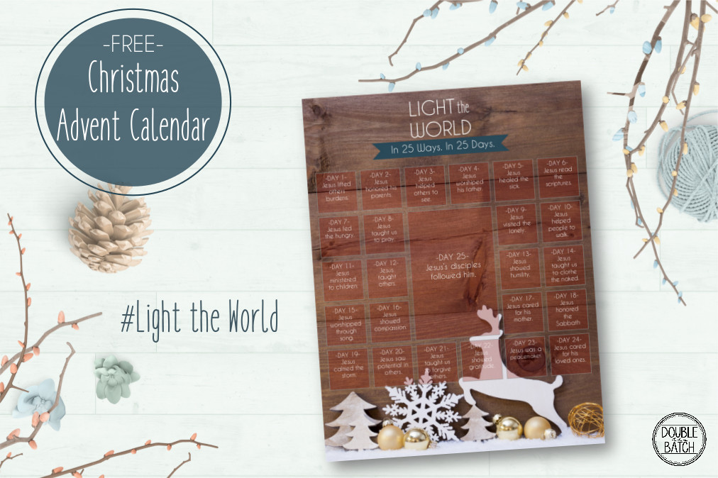 "This Christmas, gather the whole family in a month of service and love through a 25 day advent calendar to ""Light the World"". Each day highlights a way in which we can spread the light of Christ this Christmas season through his example of service and love. Choose from 2 free advent styles!"