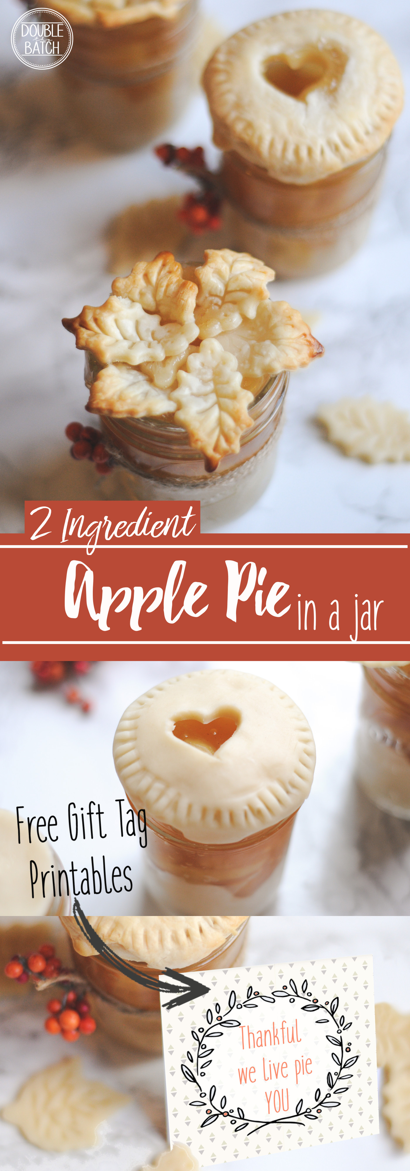 2 Ingredient apple pie in a jar. A perfect holiday gift idea with free printable gift tags included.