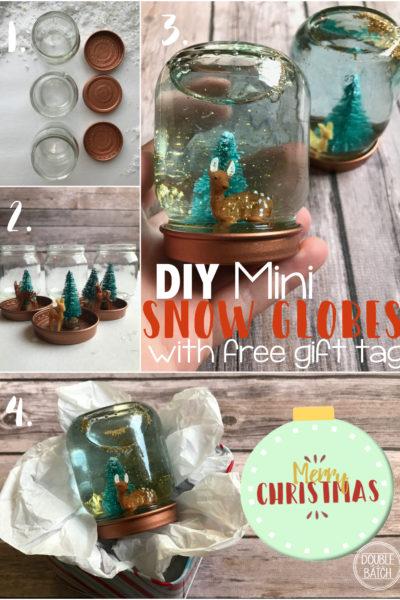 DIY Mini Snow Globes With Printable Gift Tag