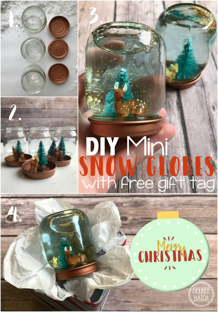 These DIY mini snow globes are perfect for when you need multiple affordable gifts to handout or accompany a Christmas gift basket. Easily made from baby food jars, glitter, and adorable mini Christmas figures.
