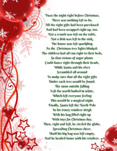 graphic about Left Right Christmas Game Printable called Xmas Specifically/Remaining Present Replace Sport Poem - Uplifting