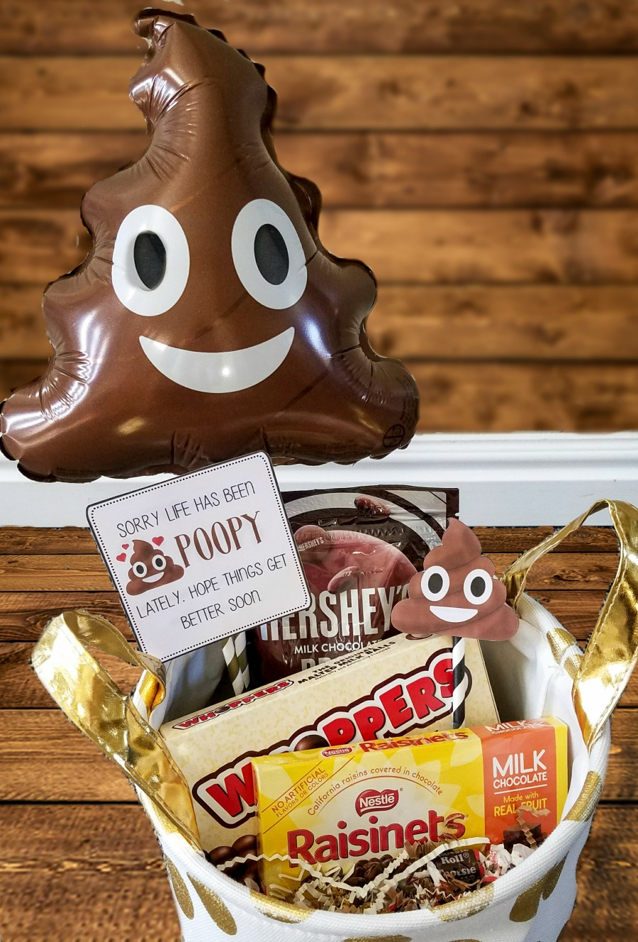Poop Emoji Gift Basket and Free Gift Tags