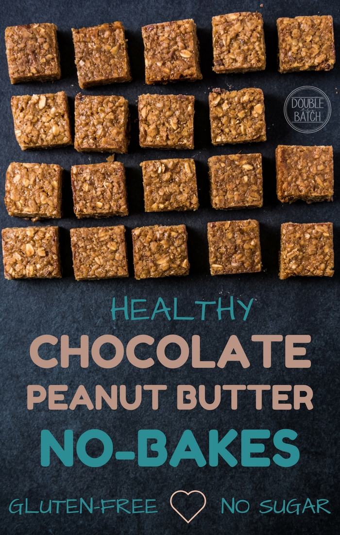 Healthy Chocolate Peanut Butter Oat Bar Recipe (No-Bake)