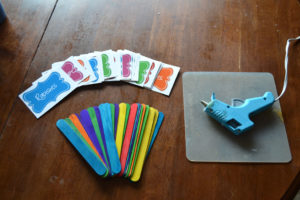 craft sticks, glue gun, garden labels