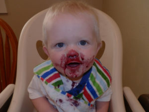 mess, blueberries, baby