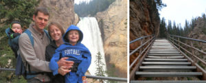 staircase, Uncle Tom's Trail, family, Lower Falls, waterfall