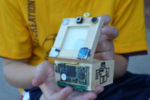 wooden box, electronics