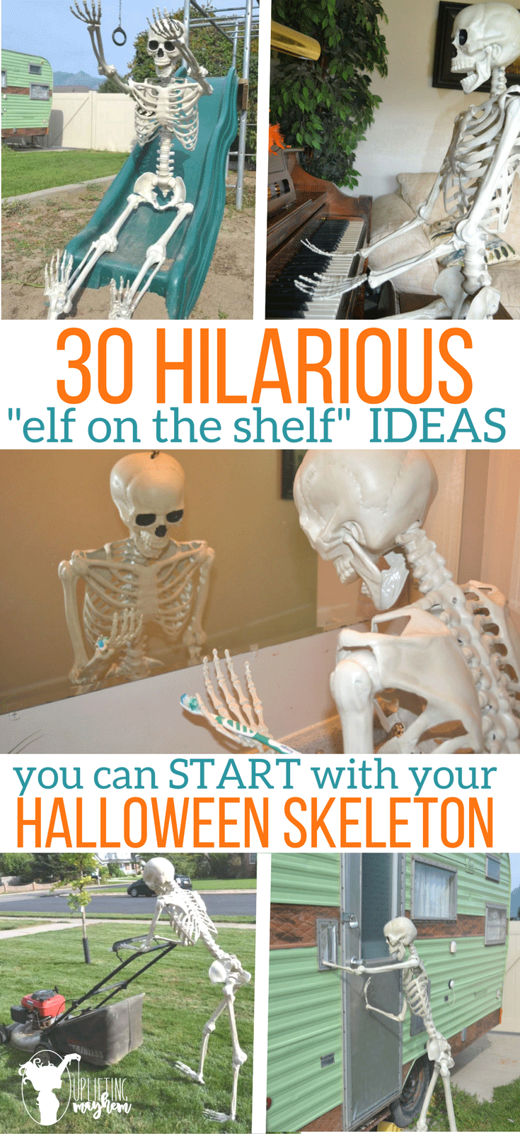 "30 Hilarious ""elf on the shelf"" IDEAS you can start with your Halloween Skeleton. Great addition to your Halloween decoration!"