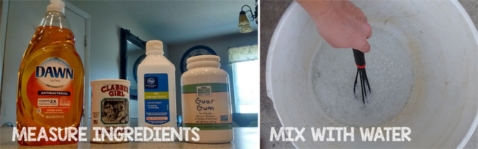 dish soap, baking powder, alcohol, guar gum