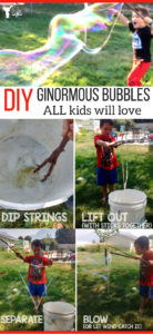 Make these ginormous bubbles with items around your yard and home! Kid activity that will keep them engaged for hours!