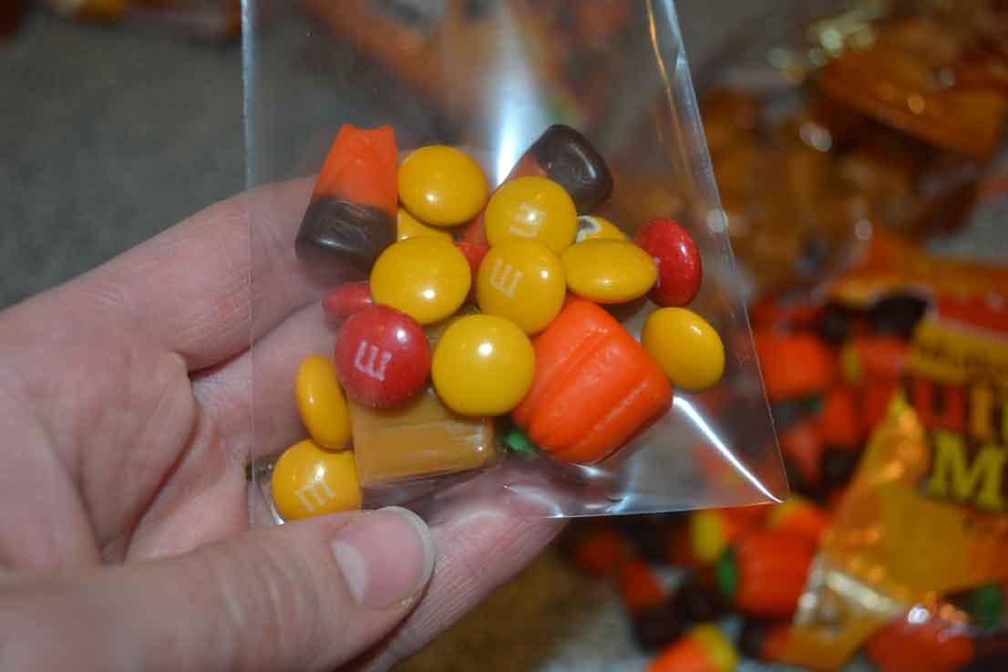 M&Ms, caramels, pumpkins