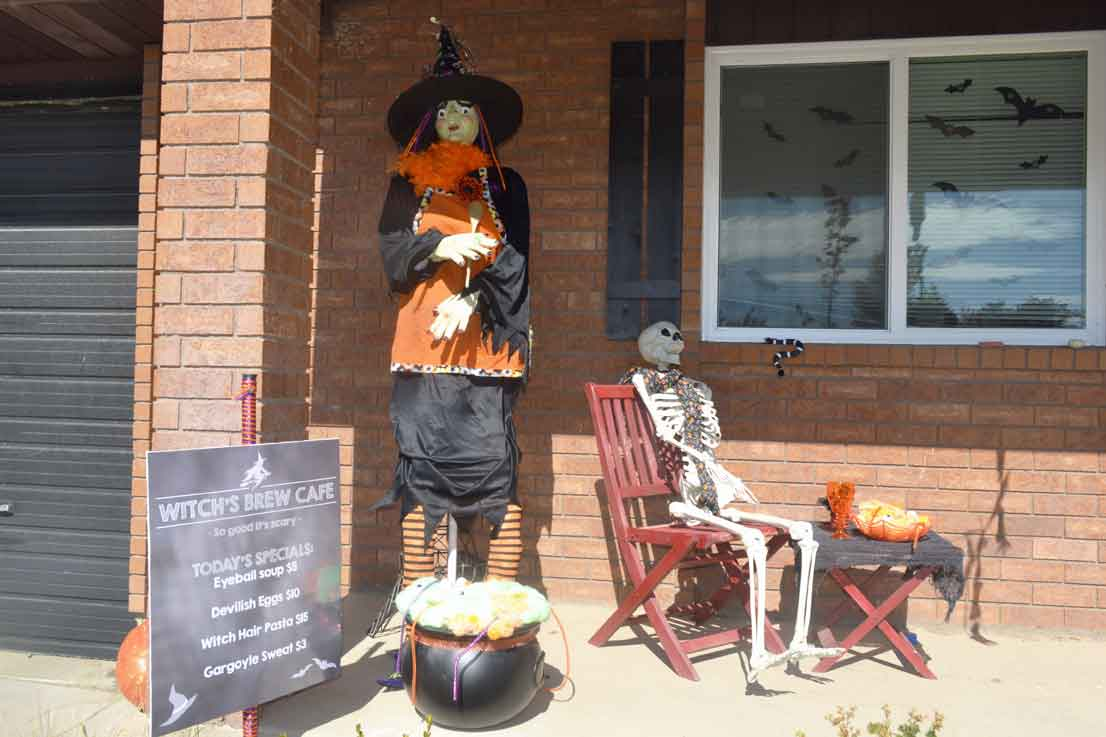 life size Halloween witch, skeleton, sign. Porch Decorations!