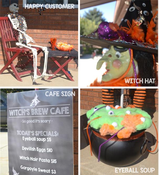 Skeleton, life size Halloween witch, cauldron, sign porch decorations