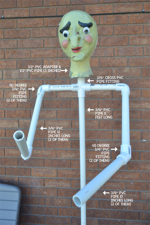 PVC pipe, frame, witch head