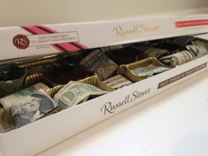 box of chocolates, money