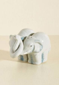 salt and pepper shakers, white elephants