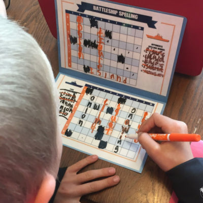 Spelling battleship is a fun game where your kids write their spelling words many times without them realizing it! Fun bonding game as well!