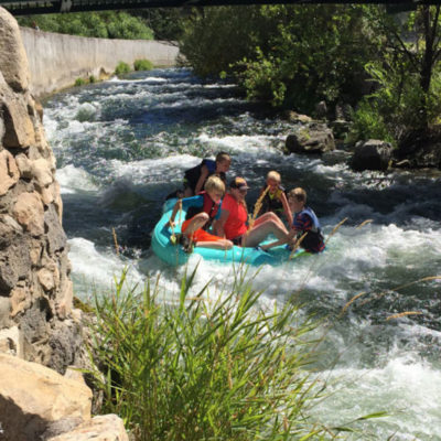 Tubing down the river in Lava Hot Springs. Fun activity for the family! Close to Lava Hot Springs Campgrounds
