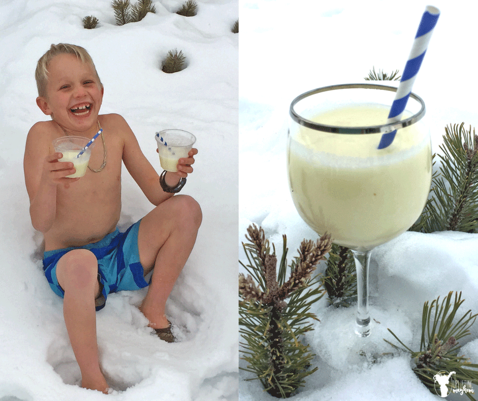 Make your own Pina Colada in the comfort of your own home! Bring some sunshine in your life with these delicious Virgin Pina Coladas that everyone will love! Listen to Garth Brooks Two Pina Coladas and dream of being by the sea while sipping two pina coladas!!