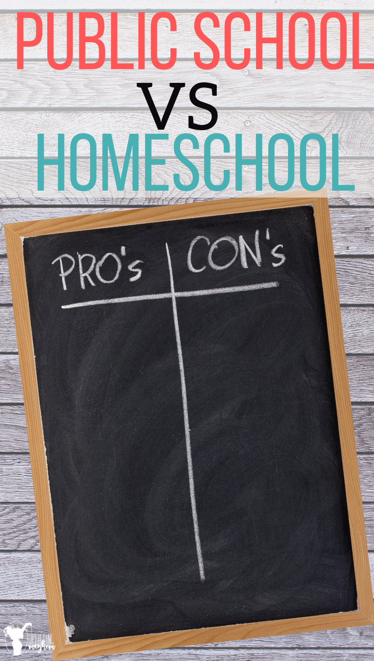 A huge list of public school vs homeschool pros and cons to help you in your schooling decision! Educate yourself to know what will be best for your family! Should you homeschool your kids? Here is a pros and cons list. Should you put your kids back into public school? Here is a pros and cons list!