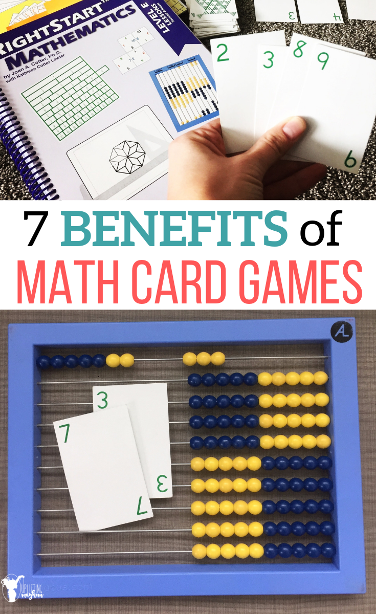 Math card games are perfect for instilling math concepts! 7 Benefits of math card games that will help your child become better in math. It will help your child love math because they are playing a game instead of doing tedious repetitive worksheets!