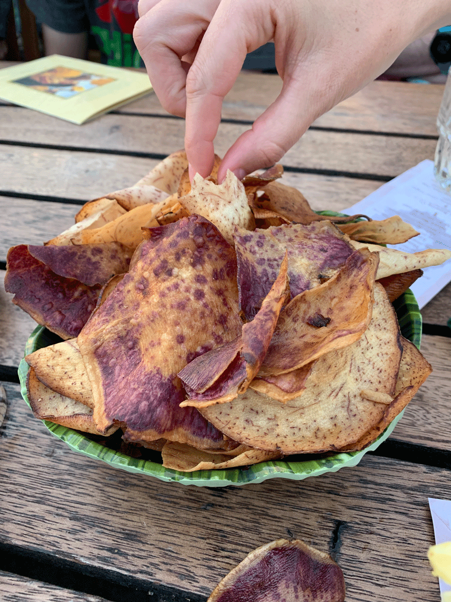 Taro chips made out of taro roots from Hawaii