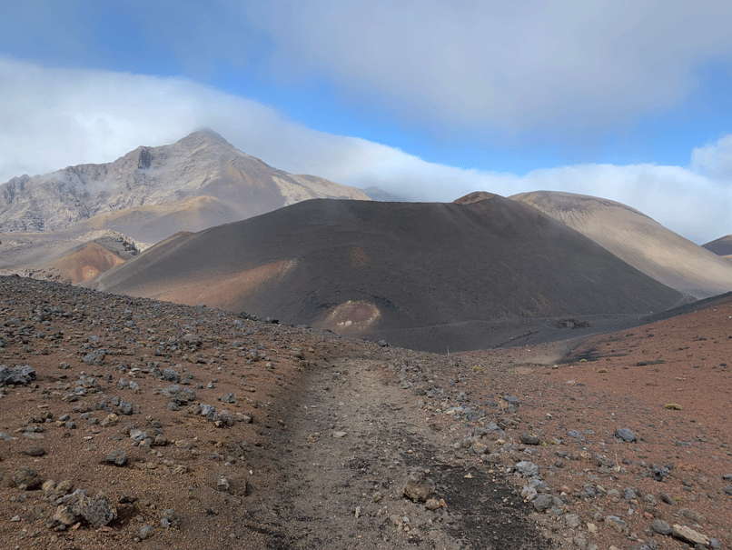 A view of a large cylinder inside the crater of Mount Haleakala