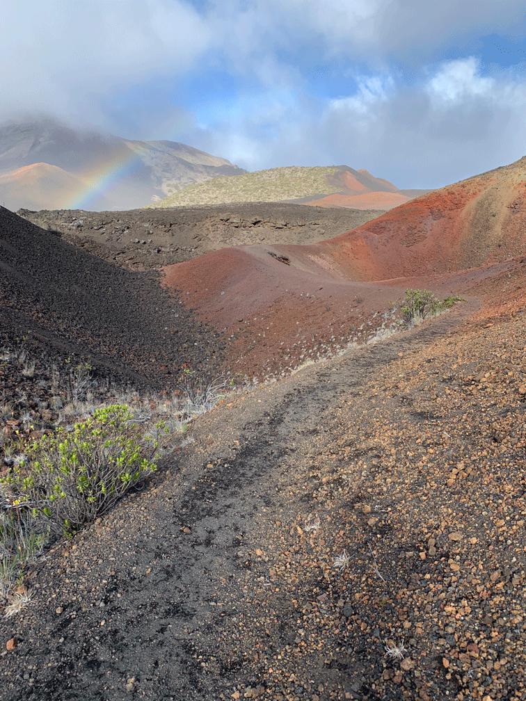 Rainbows shining in Mount Haleakala Crater