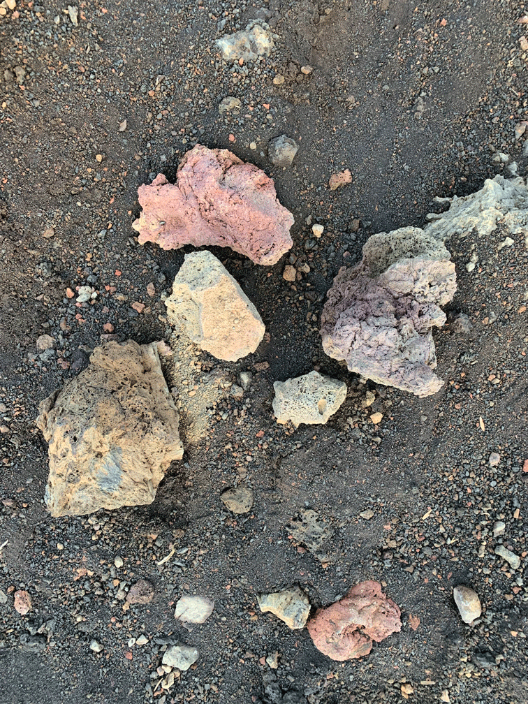 Different colored rocks that are on Mount Haleakala