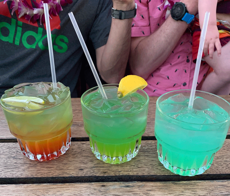 Endless amounts of luau drinks that are beautiful and delicious