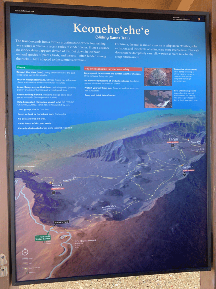 Mount Haleakala map of different hikes to each cylinder