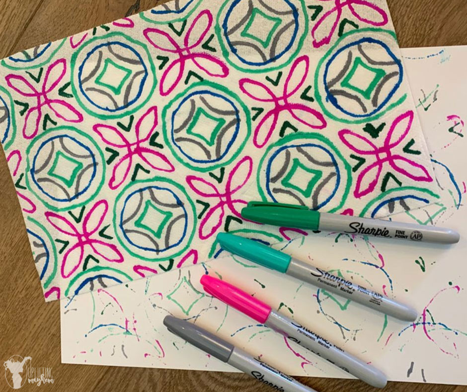 This geometric paper towel art activity will have your child busy and wanting more! The designs your child can create are endless! Each paper towel will look different. Great activity your child can do while you are reading aloud to them.
