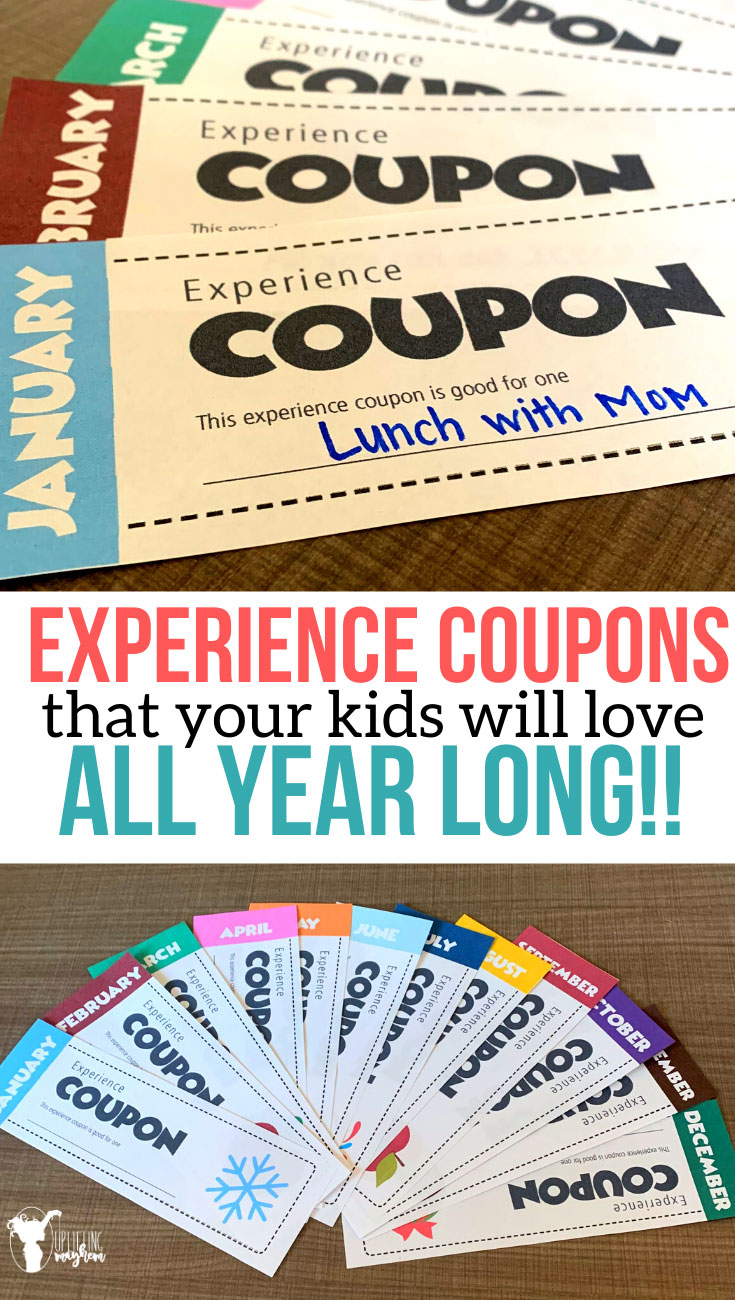 Give the gift that keeps on giving all year long with these EXPERIENCE COUPONS. Give the quality of time and fun experiences to share with your kids!
