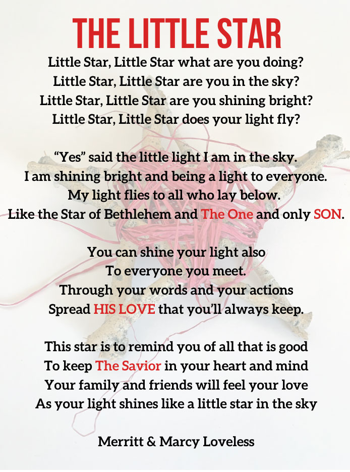 Create this beautiful Christmas Star Decoration with your family or friends. Perfect Neighbor gift with a heartwarming poem. A gift that will touch hearts! Fun Christmas craft for all ages!