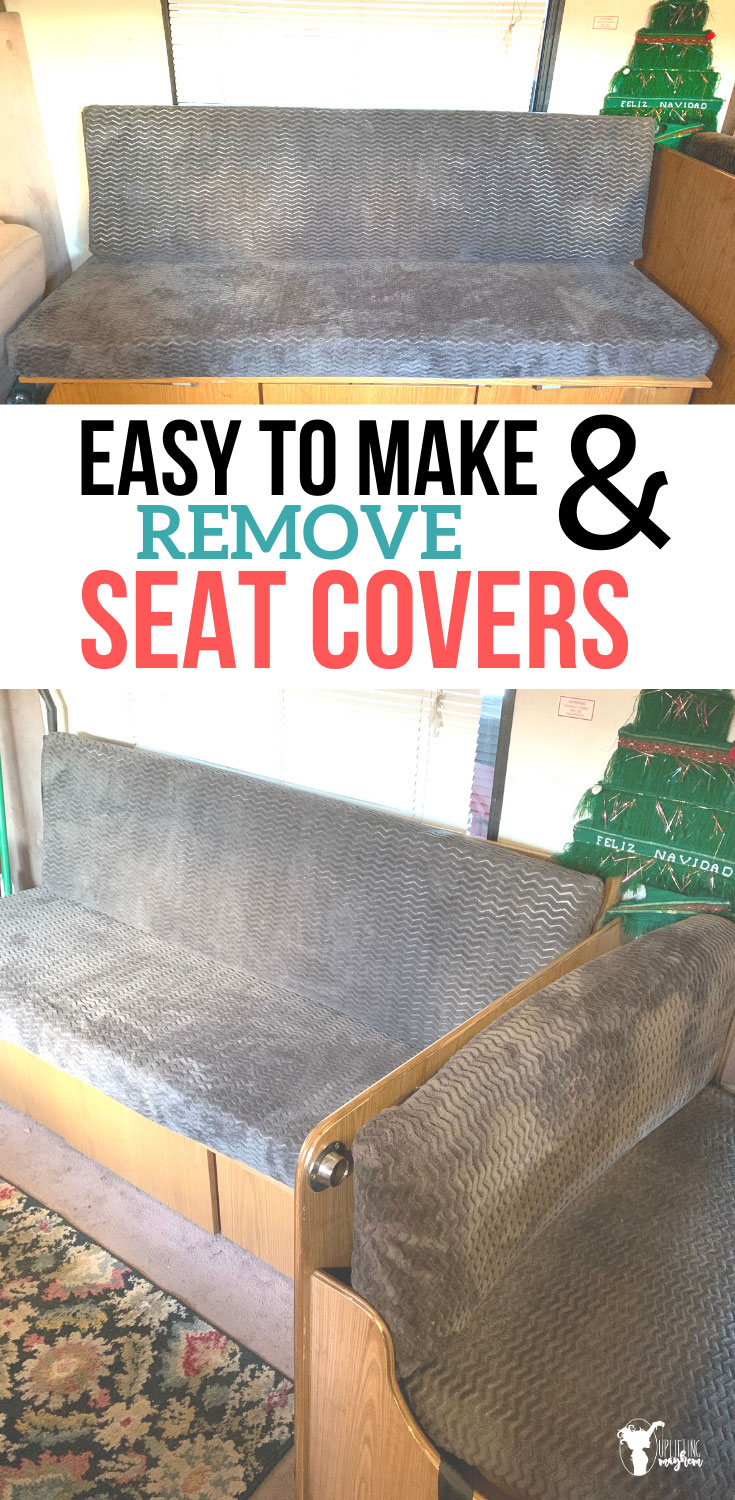 Check out these easy to make & remove seat covers! Seat covers that are not only simple to create, but seat covers that are also easy to remove, wash, AND put back on?? GENIUS!!