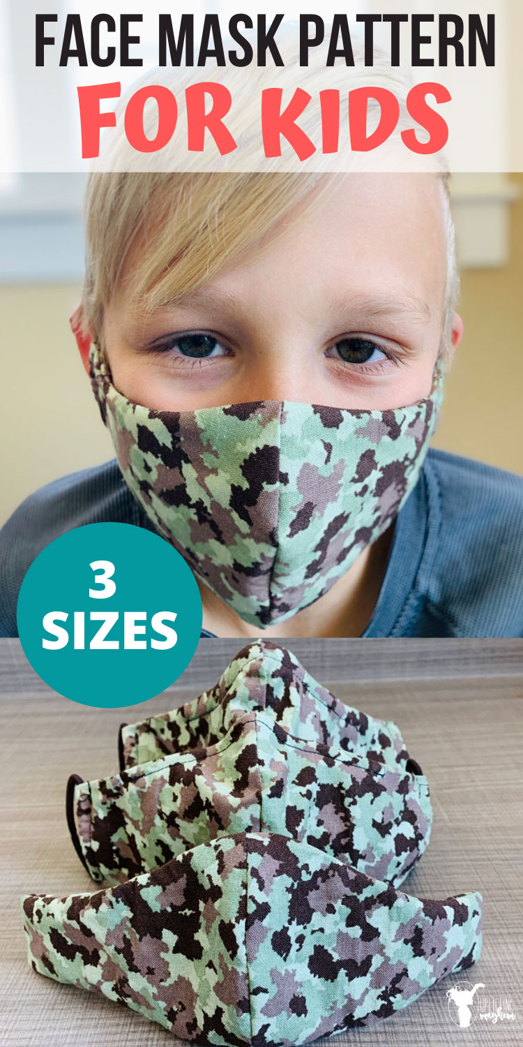 Are you looking for a face mask pattern for kids?? I have created 3 different sizes of face masks so you can make and customize to your children's faces. Super simple face mask that you can make a customize to your child's face.